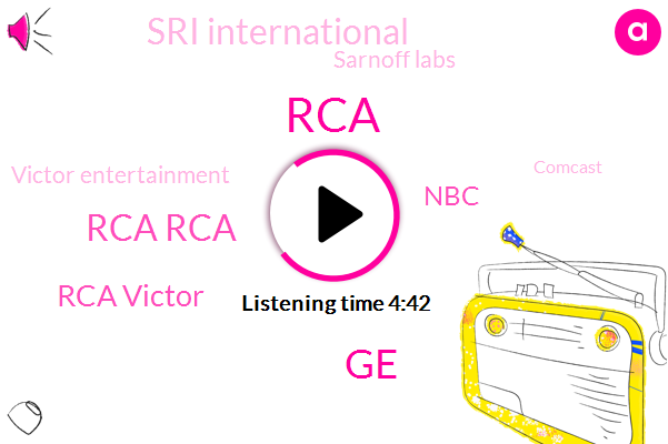 Rca Rca,GE,RCA,Rca Victor,NBC,Sri International,Sarnoff Labs,Victor Entertainment,Comcast,Sony,Martin Marietta,Astro Electronics,Martin,Westwood One,Lockheed,Japan,Stanford University,Radio Network