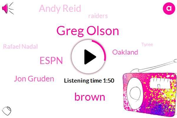Greg Olson,Espn,Jon Gruden,Brown,Oakland,Andy Reid,Raiders,Rafael Nadal,Tyree,Boise,Broncos,NFL,United States,Medvedev,Tigers,Kansas City,GM,Josina Anderson