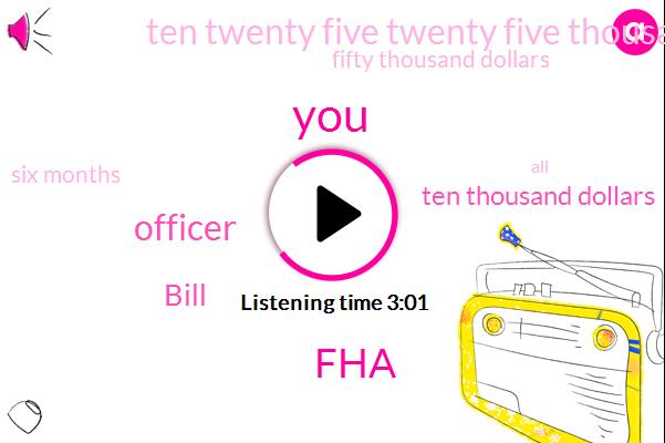 FHA,Officer,Bill,Ten Thousand Dollars,Ten Twenty Five Twenty Five Thousand Dollars,Fifty Thousand Dollars,Six Months