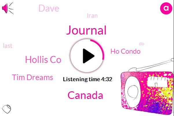 Journal,Canada,Hollis Co,Tim Dreams,Ho Condo,Dave,Iran