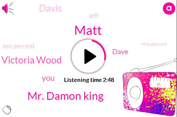 Matt,Mr. Damon King,Victoria Wood,Dave,Davis,Jeff,Ten Percent,Nine Percent,One Hundred Thousand Dollars,Ten Thousand Dollars,One Hundred Percent,Thirty Five Percent,Twenty Five Percent,Hundred Percent,Thousand Dollar,Twenty Percent,Fifty Percent,Thirty Years,Two Percent