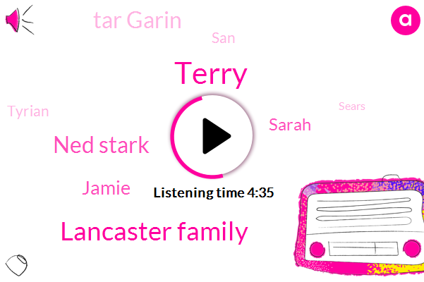 Terry,Lancaster Family,Ned Stark,Jamie,Sarah,Tar Garin,SAN,Tyrian,Sears,Danny,Brooks,Daming,Brown,West Rose,NC,Thousand Years