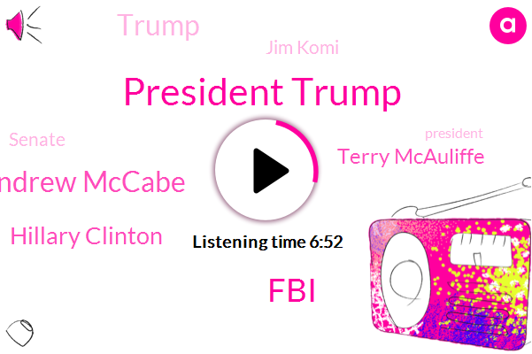President Trump,FBI,Andrew Mccabe,Hillary Clinton,Terry Mcauliffe,Donald Trump,Jim Komi,Senate,Senate State Senate,New York Times,Lisa,DOJ,Comey,JIM,Jim Commes,Mitch Mcconnell,Peter Strauss,Director