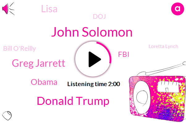 John Solomon,Donald Trump,Greg Jarrett,Barack Obama,FBI,Lisa,DOJ,Bill O'reilly,Loretta Lynch,Hannity,Sean,President Trump,Carter,Two Years