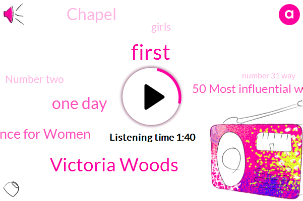 First,Victoria Woods,One Day,Governors Conference For Women,50 Most Influential Women,Chapel,Girls,Number Two,Number 31 Way,Thistle,Journal,Rich,White House