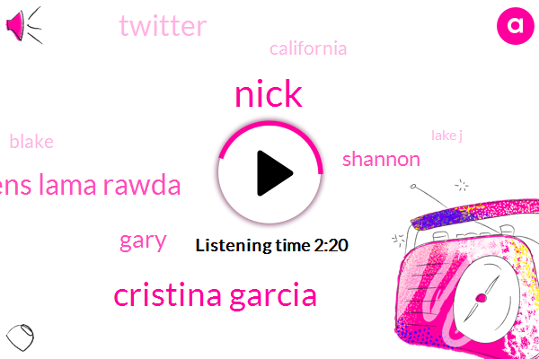 Nick,Cristina Garcia,Hawaiian Gardens Lama Rawda,Gary,Shannon,Twitter,California,Blake,Lake J,Producer,La Mirada,Pico Rivera,Christina Garcia