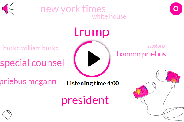 President Trump,Special Counsel,Donald Trump,Priebus Mcgann,Bannon Priebus,New York Times,White House,Burke William Burke,Lou Danske,Department Of Justice,Prosecutor,Chang Schick,Lewandowski,Attorney,Mcconnell,Official,Two Days