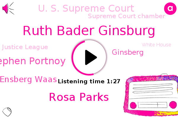 Ruth Bader Ginsburg,U. S. Supreme Court,Supreme Court Chamber,Rosa Parks,Justice League,White House Correspondent,White House,Stephen Portnoy,Rithmetic Ensberg Waas,CBS,Ginsberg,Washington,Great Hall,Arlington,Official