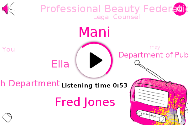 County Public Health Department,Department Of Public Health,Professional Beauty Federation Of California,Mani,Fred Jones,Legal Counsel,Ella