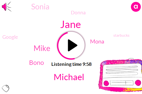 Jane,Belgrade,Google,Starbucks,Microsoft,Michael,DR.,Mike,East Acton,Bono,Mona,L. L G,Keio,Sonia,ESA,Donna,ADP