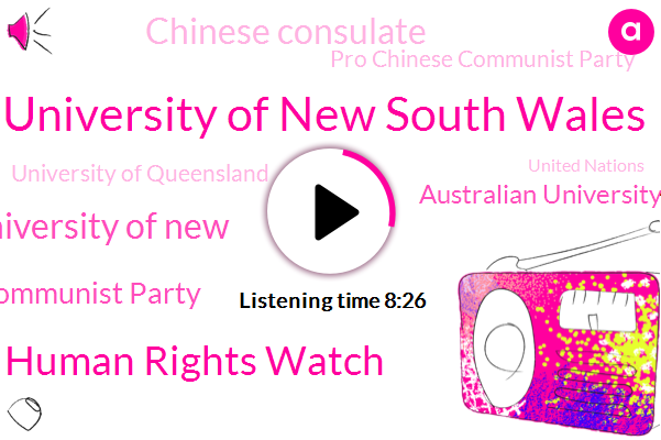 Hong Kong,Australia,University Of New South Wales,Human Rights Watch,University Of New,Chinese Communist Party,Australian University,Chinese Consulate,China,Hong,Pro Chinese Communist Party,University Of Queensland,Wales,United Nations,Communist Government,Media Department,Director