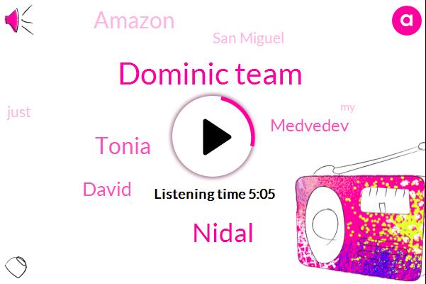 Dominic Team,Nidal,Tonia,David,San Miguel,Medvedev,Amazon