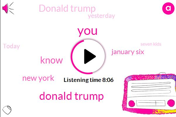 Donald Trump,New York,January Six,Yesterday,Today,Seven Kids,Logan,Last Week,Monday,Three,SIX,Last Night,Cova,First Day,Phillip,Two Thousand,Florida
