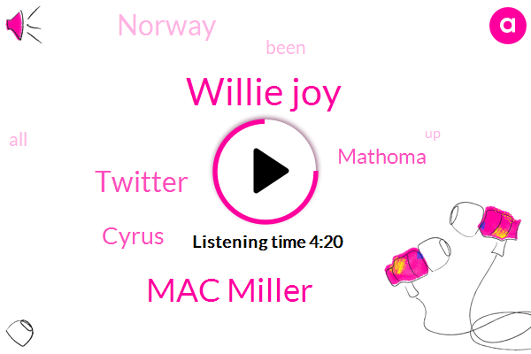 Willie Joy,Mac Miller,Twitter,Cyrus,Mathoma,Norway