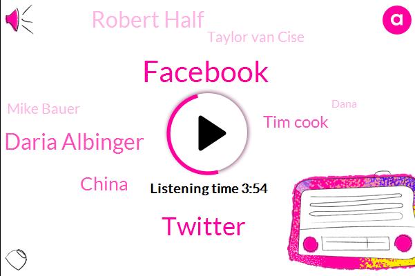 Facebook,Twitter,Daria Albinger,China,ABC,Tim Cook,Robert Half,Komo,Taylor Van Cise,Mike Bauer,Dana,Editor In Chief,Tennis,Alzheimers,CEO