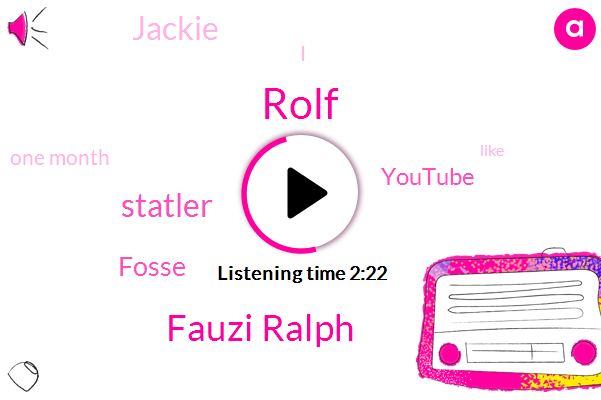 Rolf,Fauzi Ralph,Statler,Fosse,Youtube,Jackie,One Month