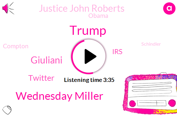 Donald Trump,Wednesday Miller,Giuliani,Twitter,Justice John Roberts,IRS,Barack Obama,Compton,Schindler,Pob Dobs,Popadopoulos,Hitler,Moeller,Bush,Clinton