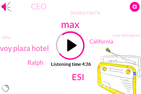 MAX,ESI,Savoy Plaza Hotel,California,Ralph,CEO,Jessica Harris,Essie Weingarten,AL,Rome,New York,Italy,G.,Doc Brown,Tino,Founder,Angie,Five Years