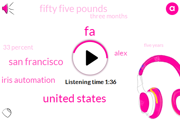 FA,United States,San Francisco,Iris Automation,Alex,Fifty Five Pounds,Three Months,33 Percent,Five Years