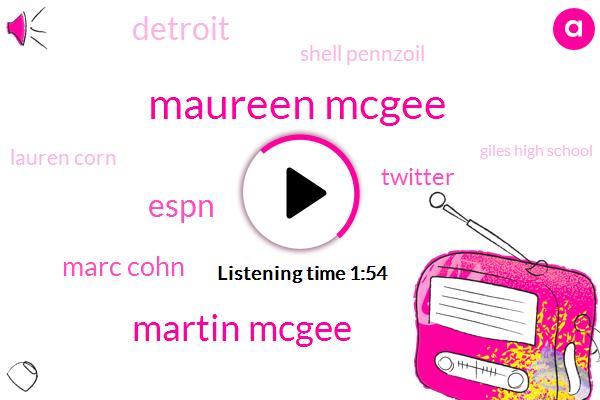 Maureen Mcgee,Martin Mcgee,Mcgee,Marc Cohn,Twitter,Detroit,Espn,Shell Pennzoil,Lauren Corn,Giles High School,DAN,Travis Travis,Sophie