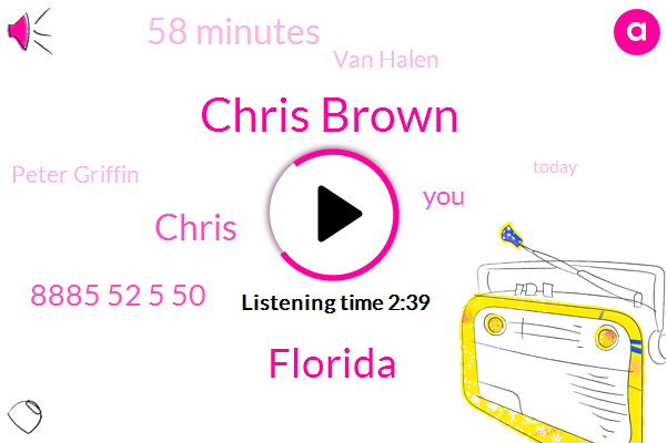 Chris Brown,Florida,Chris,8885 52 5 50,58 Minutes,Van Halen,Peter Griffin,Today,5,Two Links,Family Guy,Last Night,Windows,Two Weeks Before,Triple,100 Miles An Hour,Three,Seinfeld,803 Old,This Morning