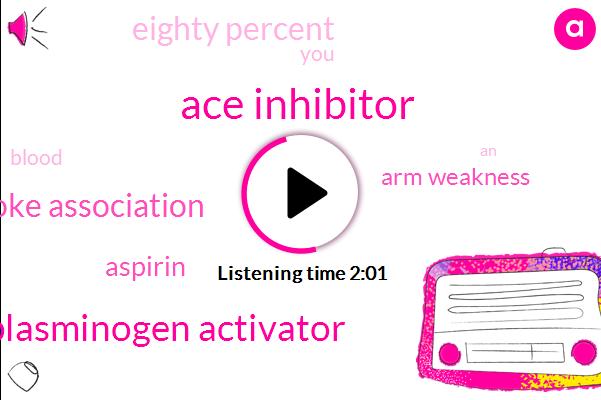 Ace Inhibitor,Tissue Plasminogen Activator,American Stroke Association,Aspirin,Arm Weakness,Eighty Percent