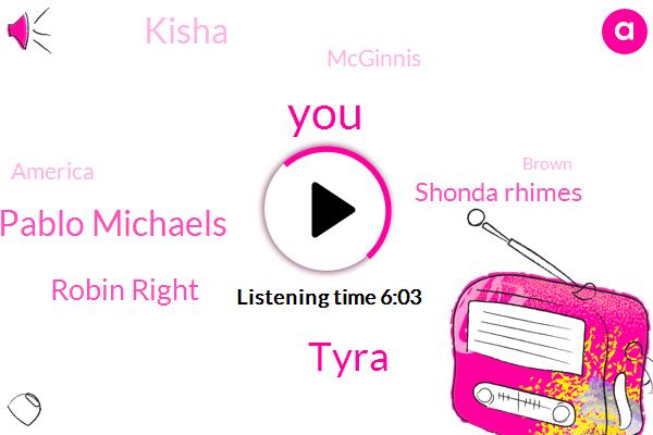 Tyra,Pablo Michaels,Robin Right,Shonda Rhimes,Kisha,Mcginnis,America,Brown,Claire,Underwood,Davis,Boehner,Murder,Keating