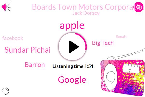 Apple,Google,Sundar Pichai,Barron,Big Tech,Boards Town Motors Corporation,Jack Dorsey,Facebook,Senate,United States,Salesforce,Twitter,Alpha,Spotify,Official,Microsoft,Zuckerberg,Amazon
