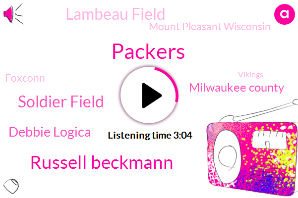 Russell Beckmann,Packers,Soldier Field,Debbie Logica,Milwaukee County,Lambeau Field,Mount Pleasant Wisconsin,Foxconn,Vikings,Chicago,Wisconsin,Football,Gene