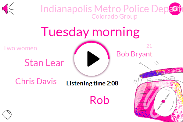 Tuesday Morning,ROB,Stan Lear,Chris Davis,Bob Bryant,Indianapolis Metro Police Department,Colorado Group,Two Women,21,American Standard Heating Weather Center,Alfie Belushi,Tuesday,Mid Forties,Early Monday Morning,ONE,Robinson,Shane,Tomorrow,Two Defenses,Indianapolis