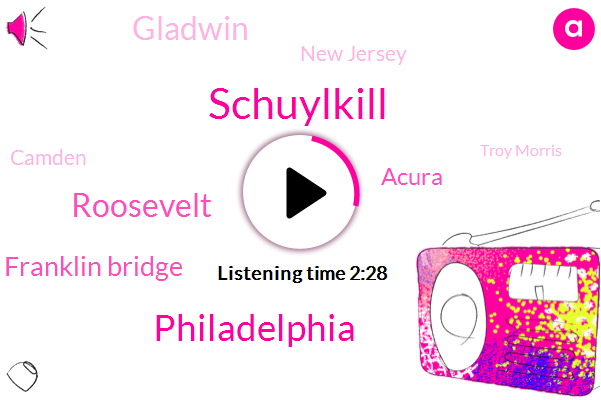 Philadelphia,Schuylkill,Roosevelt,Ben Franklin Bridge,Acura,Gladwin,New Jersey,Camden,Troy Morris,Jersey,CBS,Germantown,Ten Minutes,Eighty Six Degrees,Eight Degrees,Thirty Minute,Four Hour