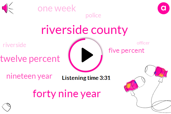 Riverside County,Forty Nine Year,Twelve Percent,Nineteen Year,Five Percent,One Week