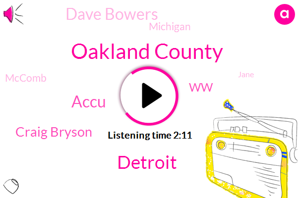 Newsradio,Oakland County,Detroit,Accu,Craig Bryson,WW,Dave Bowers,Michigan,Mccomb,Jane,Thirty Eight Degrees,Ten Minutes,Two Inches