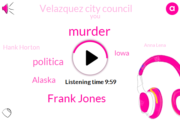 Murder,Frank Jones,Politica,Alaska,Iowa,Velazquez City Council,Hank Horton,Anna Lena,SAN,Walkerton,Colorado Springs,Welker,Stan,Henry Moore,Valenica,Velasco,Ballista,Two Hundred Years,Twenty Second