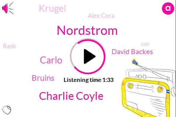 Charlie Coyle,Nordstrom,Carlo,Bruins,David Backes,Krugel,Alex Cora,Rask,Juki,Sorolla,Sarah,Straubing,Bacchus,Leah,Napa