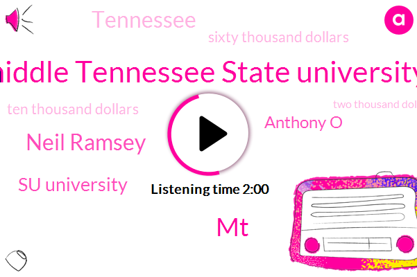 Middle Tennessee State University,MT,Neil Ramsey,Su University,Anthony O,Tennessee,Sixty Thousand Dollars,Ten Thousand Dollars,Two Thousand Dollars,Three Years
