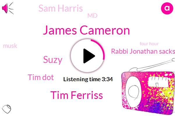 James Cameron,Tim Ferriss,Suzy,Tim Dot,Rabbi Jonathan Sacks,TIM,Sam Harris,MD,Musk,Four Hour,Zero G