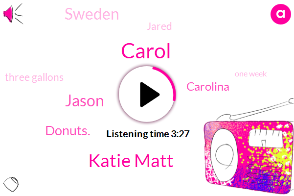 Carol,Katie Matt,Jason,Donuts.,Carolina,Sweden,Jared,Three Gallons,One Week