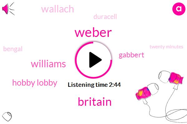 Weber,Britain,Williams,Hobby Lobby,Gabbert,Wallach,Duracell,Bengal,Twenty Minutes,Two Percent