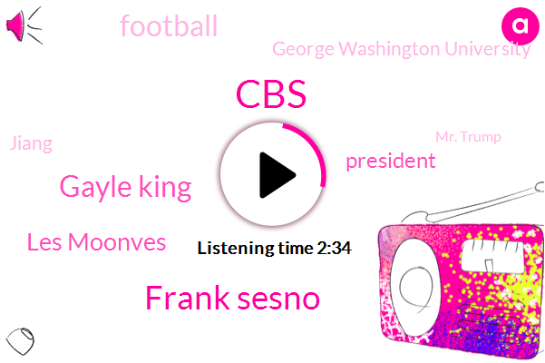 CBS,Frank Sesno,Gayle King,Les Moonves,President Trump,Football,George Washington University,Jiang,Mr. Trump,Harassment,Professor,Chicago,Baltimore Ravens,Superintendent,Ray Rice,NFL,Eddie Johnson,DOW,Mark
