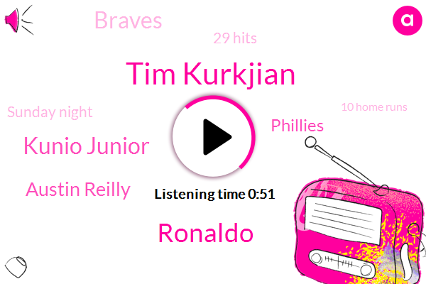Tim Kurkjian,Ronaldo,Kunio Junior,Austin Reilly,Phillies,29 Hits,Braves,Sunday Night,10 Home Runs,Second,Second Time,Seven,Angels,Yesterday,Tonight,18 Extra Base Hits,First Pitch,667 Career Home Runs,Over 3200 Career Hits,Cooperstown