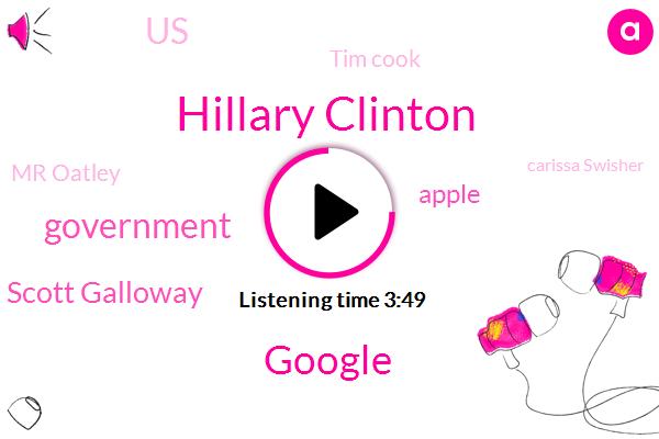 Hillary Clinton,Google,Government,Scott Galloway,Apple,United States,Tim Cook,Mr Oatley,Carissa Swisher,New York City,Intuit,Marijuana,Brussels,CIA,California,CEO,FBI,Sergei