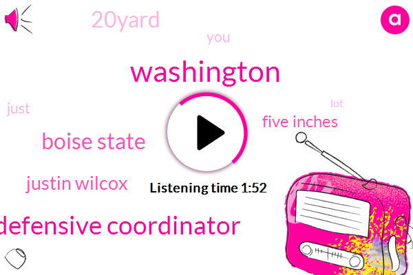 Washington,Defensive Coordinator,Boise State,Justin Wilcox,Five Inches,20Yard