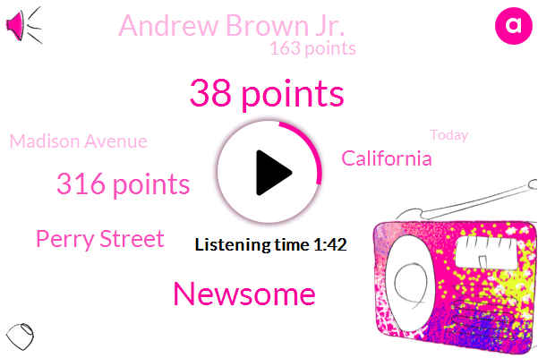 38 Points,Newsome,316 Points,Perry Street,California,Andrew Brown Jr.,163 Points,Madison Avenue,Today,FBK,CHP,Sacramento,4 21 Perry Street,TWO,Elizabeth City Council,This Morning,This Afternoon,13,P 500