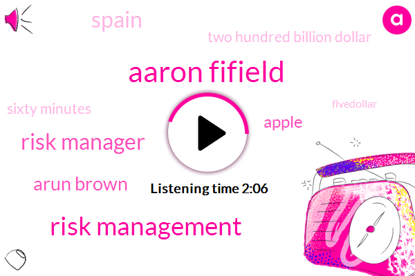 Aaron Fifield,Risk Management,Risk Manager,Arun Brown,Apple,Spain,Two Hundred Billion Dollar,Sixty Minutes,Fivedollar,30 Years,One Week