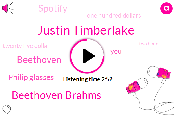 Justin Timberlake,Beethoven Brahms,Beethoven,Philip Glasses,Spotify,One Hundred Dollars,Twenty Five Dollar,Two Hours