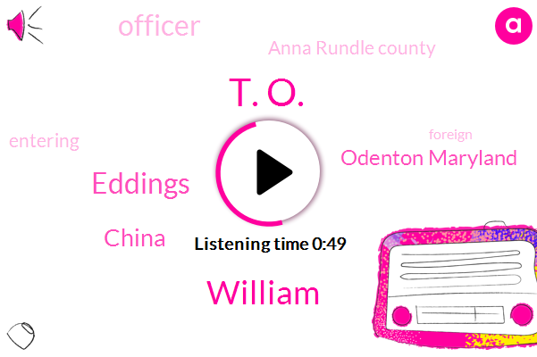 China,Odenton Maryland,Officer,T. O.,Anna Rundle County,William,Eddings