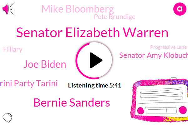 Senator Elizabeth Warren,Bernie Sanders,Joe Biden,Tarini Party Tarini,Senator Amy Klobuchar,Massachusetts,President Trump,Progressive Lane,Mike Bloomberg,Senator,Wall Street Journal,Tulsi Gabbard,New York City,Pete Brundige,South Bend Indiana,Medicare,Reporter,Hillary