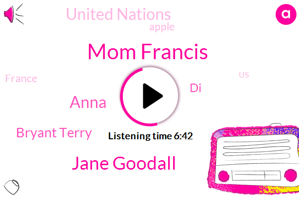 United States,Mom Francis,France,Research Assistant,Jane Goodall,Anna,Bryant Terry,New York City,India Poland France Brazil Bangladesh,United Nations,Apple,Berkeley,DI