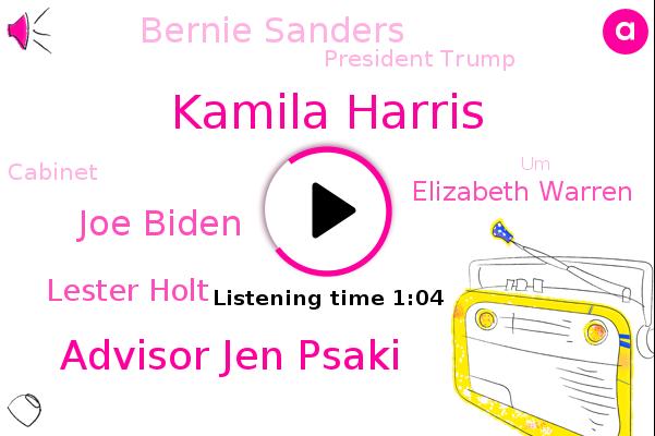 Kamila Harris,Advisor Jen Psaki,Joe Biden,Lester Holt,Nbc News,Elizabeth Warren,Bernie Sanders,Cabinet,UM,Senate,President Trump,CBS